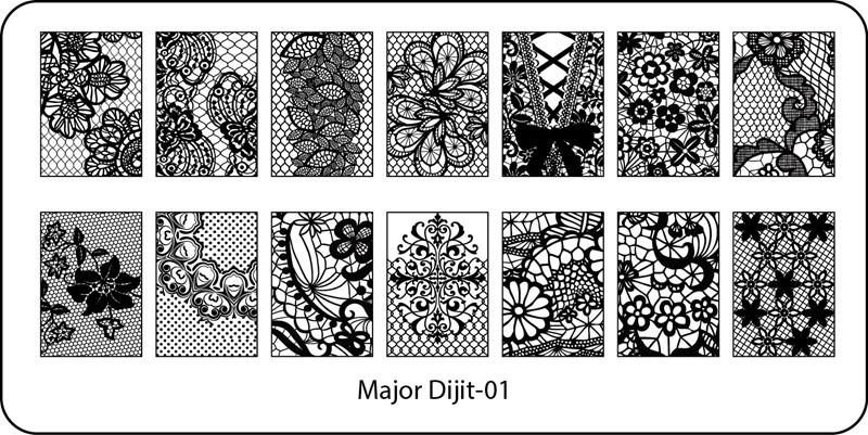 Stamping Plate Major Dijit – 01 Flower/Leaf/Star Lace Pattern