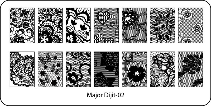 Stamping Plate Major Dijit – 02 Flowers/Hearts/Lace