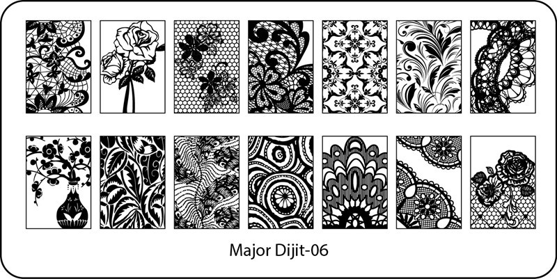 Stamping Plate Major Dijit – 06 Flowers/Lace Patterns