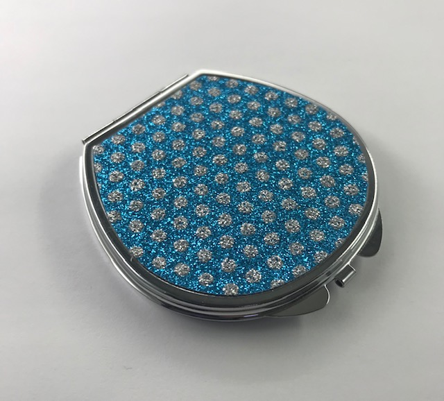 Compact Mirror Sparkly Blue & Silver Dots