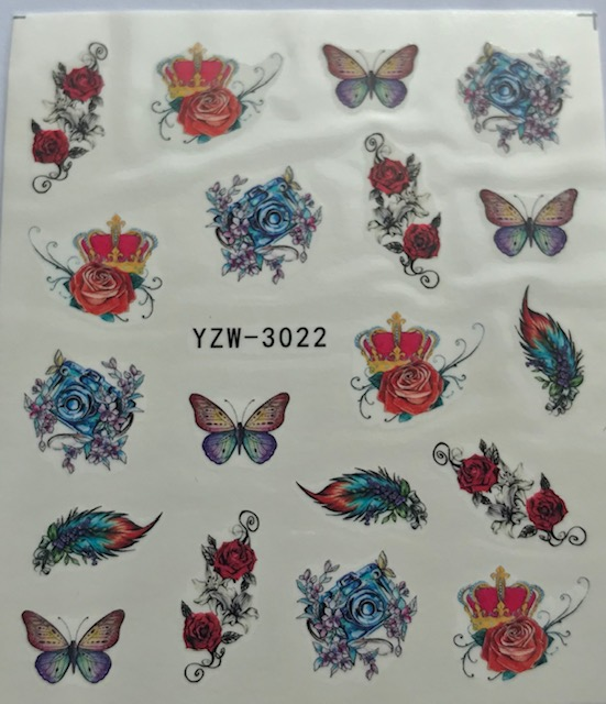Butterfly, Roses, Feathers Water Decals