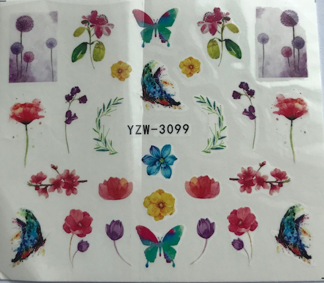 Spring Flowers, Butterfly Water Decals