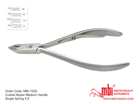 Cuticle Nipper Single Spring 1/2 Jaw 4.5″