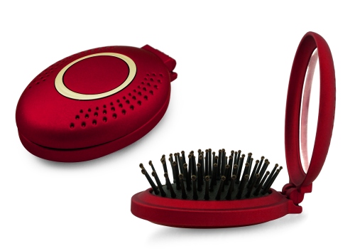 BaByliss Pop-Up Brush with Mirror (limited edition holiday collection) Red