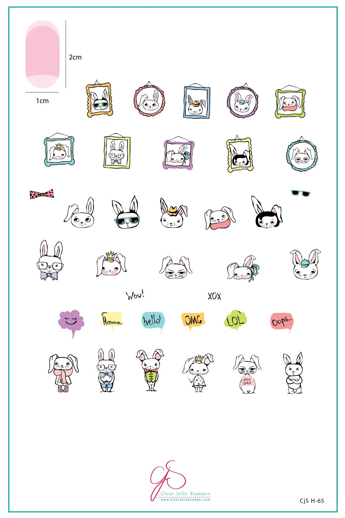 Plate Large – Hipster Bunnies  (H-65)
